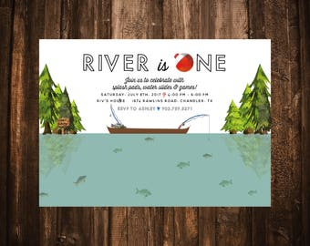 Gone Fishing First Birthday Invitations; ONE; Printable or set of 10