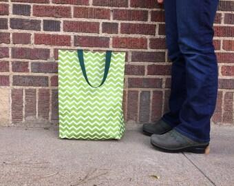 Grocery tote- green chevron