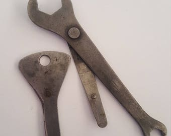 Vintage Distributor wrenches, Lucas tool is missing the points gap tool, probably 1940's to 1950's British cars, Jaguar, Austin-Healy, Mini
