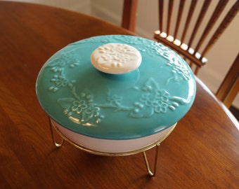 Vintage California Pottery Covered Casserole With Stand-Lidded Serving Dish-Turquoise & Cream