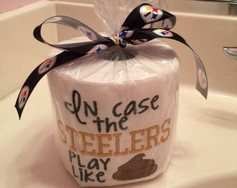 Ready to ship!!! Steelers embroidered toilet paper gag gift
