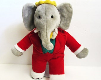 "Babar The Famous Elephant King 15"" Plush Gund Doll 1980's"