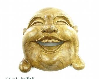 Buddha Head Happy Buddha Wood Sculpture