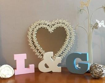 """Handmade Freestanding wooden Initials Letters 3.5""""/9cms high."""
