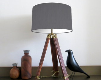 Bespoke Grey Drum lampshade with White Lining