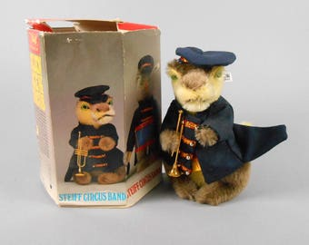 Steiff Circus Band Set Crocodile Trumpet Player Mohair Crocodile with Box
