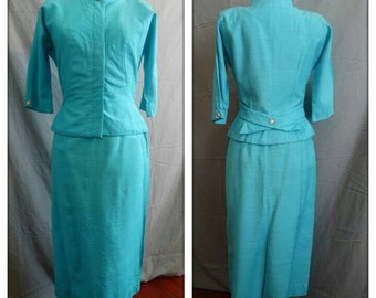 1950s Two Piece Aqua Rayon Cocktail Suit  Nipped Waist Rhinestone Pearl Buttons 36 Bust