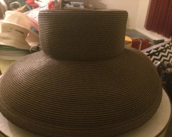 Eric Javits Brown Linen/Straw Hat