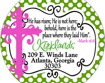 Easter Address labels with Cross and Scripture Church Ministry Address Labels Stickers for Party Favor Bags and Gift Tags Christian Labels
