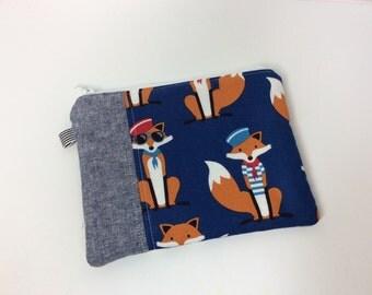 Nautical fox zipper pouch