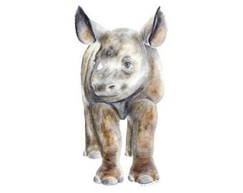 Rhino Art Print, Safari Nursery, Baby Rhino, Wall Decor, Baby Animal Print, Safari Animal Watercolor, Baby Girl, Boy, Neutral Baby Nursery