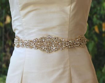 Gold Bridal Sash, Wedding Dress Sash, Gold Crystal Bridal Belt, Crystal Beaded Wedding Belt, Ceinture de Mariée, AMOUR G