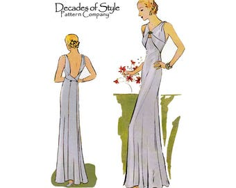 """Women's 1930's Style Low Cut Back Evening Gown Sewing Pattern Size C Bust 42"""" - 44"""" Uncut Decades of Style 3301"""