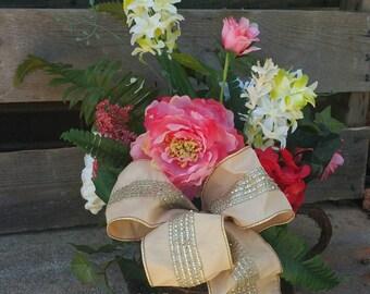 Artificial Spring Floral Arrangement / Mother's Day  Floral Arrangement / Summer Flower Centerpiece / Silk Flower Arrangement
