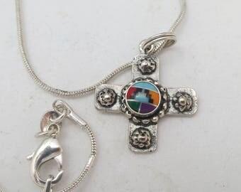 Southwestern style gem inlay sterling silver cross pendant w. silver sterling snake chain