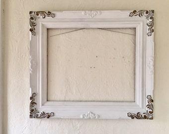 Large Open wood frame, 32 x 28 vintage, white, wedding, photo prop wood frame