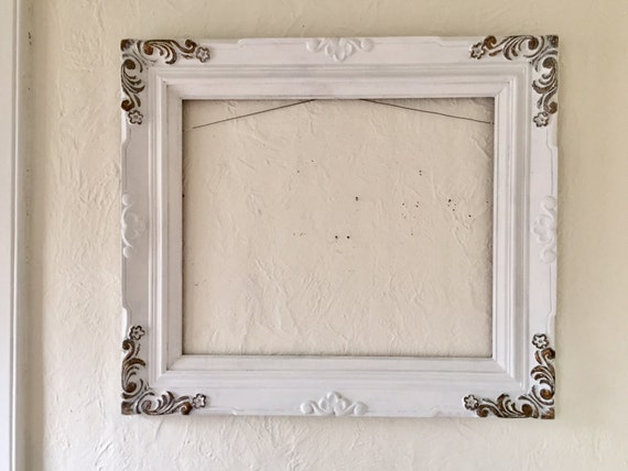 Large Open Wood Frame 32 X 28 Vintage White Wedding