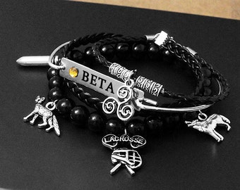 Teen Wolf Bracelet Set, Alpha Beta Omega Bracelet, Wolf Bracelet, Geekery, Geek, Fandom Bracelet, Fandom, Lacrosse, Werewolf, Full Moon