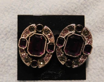 Vintage Purple Rhinestones Pierced Earrings