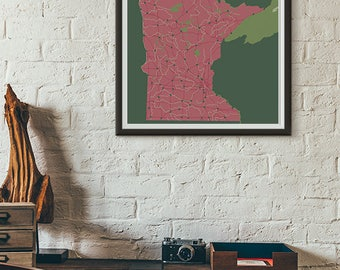 Ladyslipper Edition - Minnesota Map print