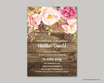 Rustic Wood Bridal Shower Invitation (8379) - Watercolor Floral Invitations - INSTANT DOWNLOAD Template  - Ready to Print - Editable PDF
