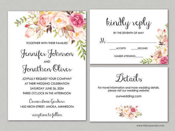 Ready To Print Wedding Invitations: Blush Rose Bouquet Wedding Invitation Set 8379 Rustic