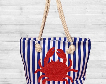 Crab Tote with blue and white vertical stripes // Crabby Tote Bag // Canvas Beach Tote