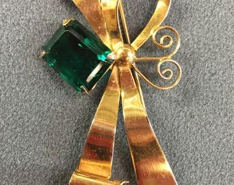 Big Dramatic Vermeil Sterling Silver with Gold Wash Retro Brooch with Bright Emerald Green Rhinestone.  Free shipping