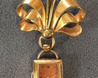 1940's Retro Ladies Wyler Watch Brooch-as is. Free shipping