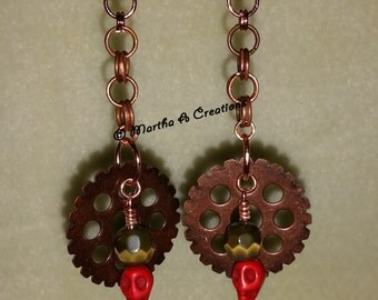 Copper Gear Skull Earrings