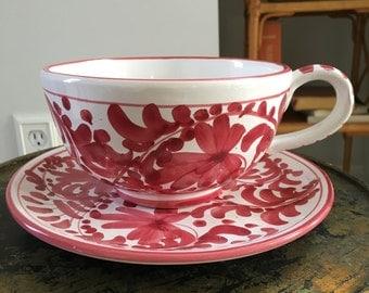 Vintage Mid Century Modern/Hollywood Regency Italian Ceramic Art Pottery Cup / Saucer - Raymor Rosenthal Netter Bitossi Gambone