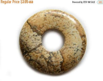 HALF PRICE Picture Jasper Donut Focal Bead