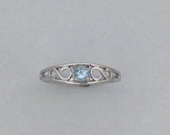 Baby Ring With Genuine Aquamarine Solid 10kt White Gold