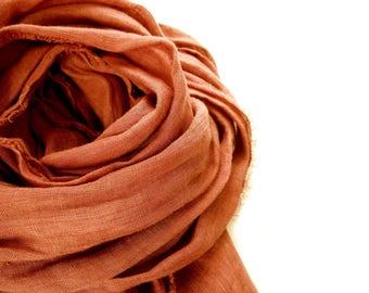 Pumpkin Orange Linen Scarf, Hand Dyed Burnt Orange Scarf, Lightweight European Linen, Men Women, Minimalist, Rustic, Fall, Spring Summer