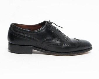 vintage Allen Edmonds black leather oxfords wingtip shoes 9 1/2