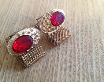 Unique vintage wrap around cufflinks with very smart crystal mounting