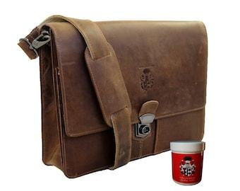 Portfolio bag A4 with shoulder strap SCHILLER  in brown - BARON of MALTZAHN