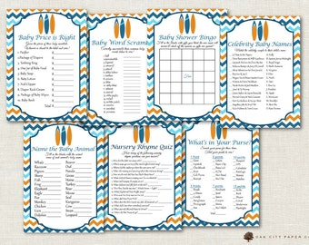 Surfing Baby Shower Games - Baby Shower Games, Surfing Shower Games, Beach Baby Shower Games, Baby on Board Baby Shower Games - Printable