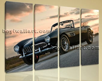 large bmw 507 car wall art home decor living room four pieces giclee print large