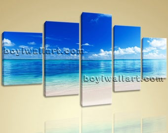 Large Beac Hbeach Hd Print Photography Wall Art Dining Room 5 Pieces Giclee, Large beach Wall Art, Dining Room, Cobalt