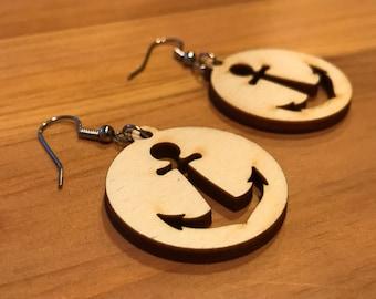 Anchor Laser-Cut Wood Earrings