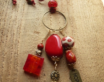 poppy red hope charm necklace