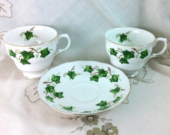 Individual Cup or Saucer Colclough Ivy Leaf Fine English Bone China Teacup White China Gilt Rims Green Ivy Leaf Pattern Replacement or Duo