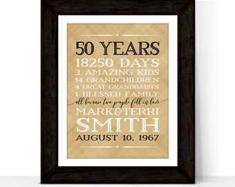 50th anniversary gift for parents anniversary gift 50 year golden anniversary gift 50th wedding anniversary gift | Grandparent gifts
