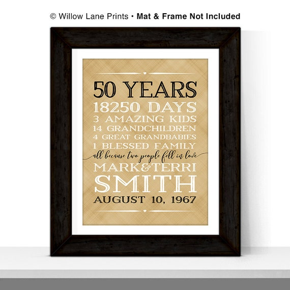 Golden Wedding Anniversary Gift Ideas For Parents: 50th Anniversary Gift For Parents Anniversary Gift 50 Year