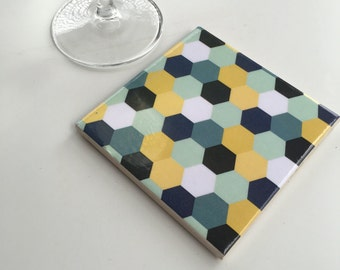Ceramic Tile Coasters - Geometric Style 030