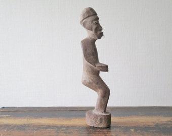 Vintage Hand carved Tribal Man Figurine Handmade Wood Man, Carved Man Statue Wooden Figurine @206
