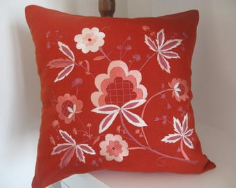 handmade pillow cover, unique piece, hand-embroidered pillow 40x40cm buttons., terracotta