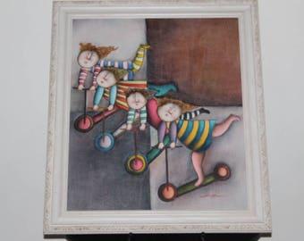 "Joyce Roybal-(American,1955)-""Children Scooting"" Oil Painting"