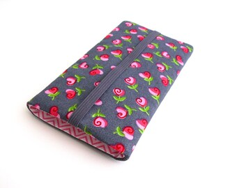 Sleeve for iPhone, Pouch Galaxy S7, Smartphone pouch, iPhone 6 plus, Galaxy s7 edge, S6, S7 skin, S6 sleeve, gray,roses, iPhone5 sleeve,